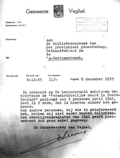 brief aan de burgemeester voorbeeld CuBra Cultureel Brabant moordliedjes verschrikkelijke moord Veghel 3